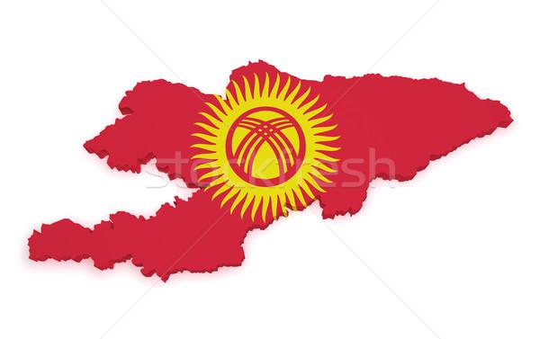 Kırgızistan harita bayrak 3D biçim yalıtılmış Stok fotoğraf © NiroDesign