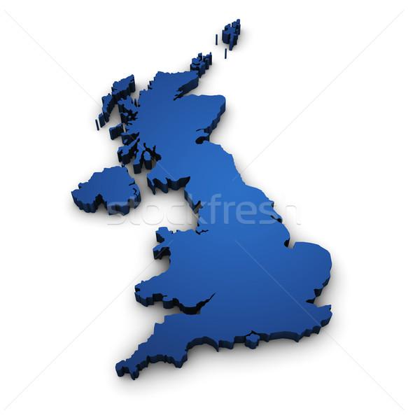 Carte Royaume-Uni 3D forme grande-bretagne design Photo stock © NiroDesign