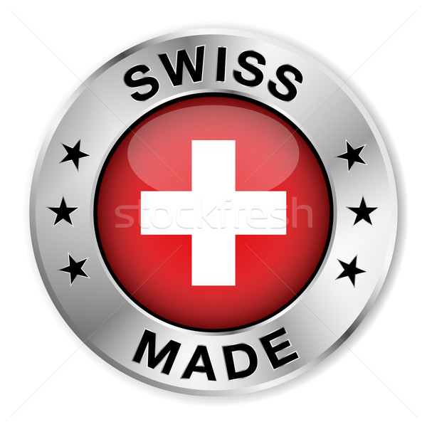 Argento badge icona centrale lucido Svizzera Foto d'archivio © NiroDesign