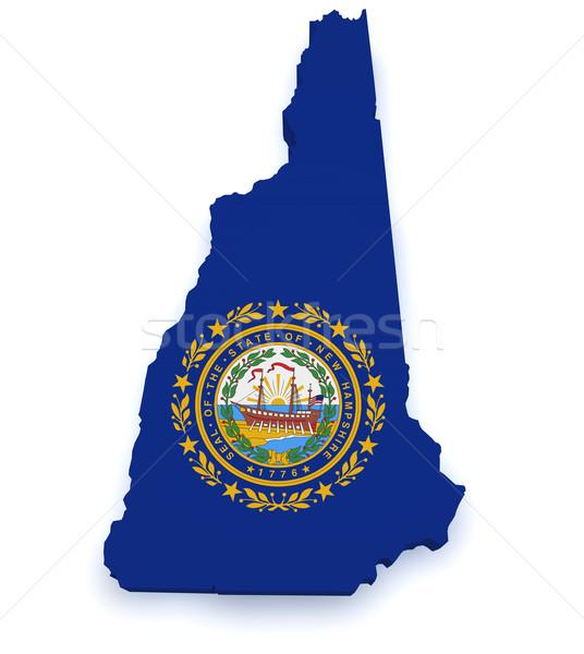 New Hampshire harita 3D biçim bayrak yalıtılmış Stok fotoğraf © NiroDesign