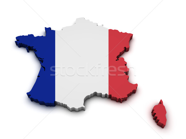 Francia bandiera mappa 3D isolato Foto d'archivio © NiroDesign