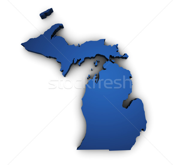 Mapa Michigan 3D forma azul Foto stock © NiroDesign
