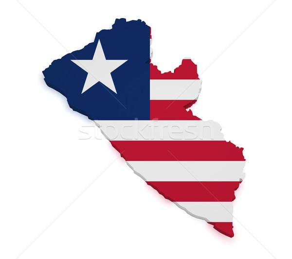 Liberia mappa bandiera 3D isolato Foto d'archivio © NiroDesign