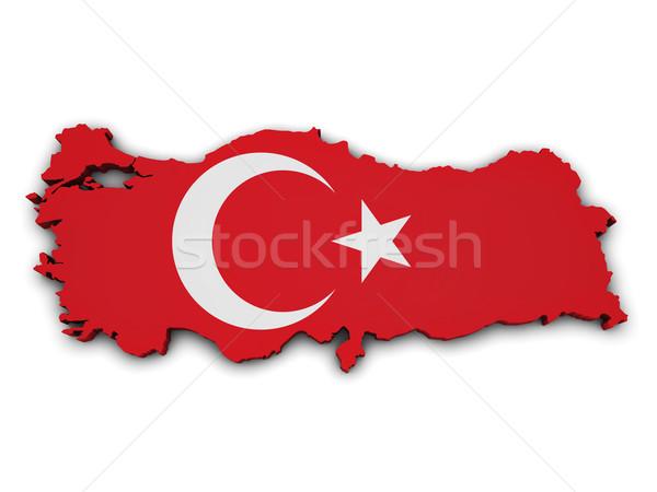 Turquía bandera mapa forma 3D aislado Foto stock © NiroDesign