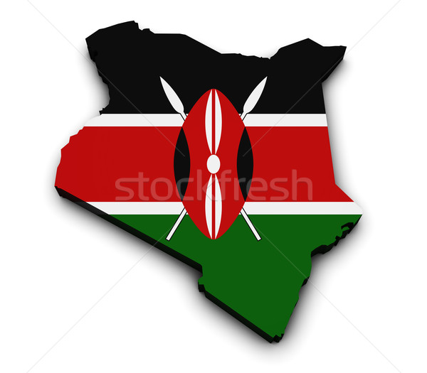 Kenya Flag Map 3d Shape Stock photo © NiroDesign