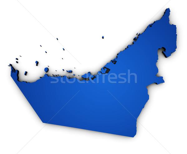 Birleşik Arap Emirlikleri harita biçim 3D mavi örnek Stok fotoğraf © NiroDesign
