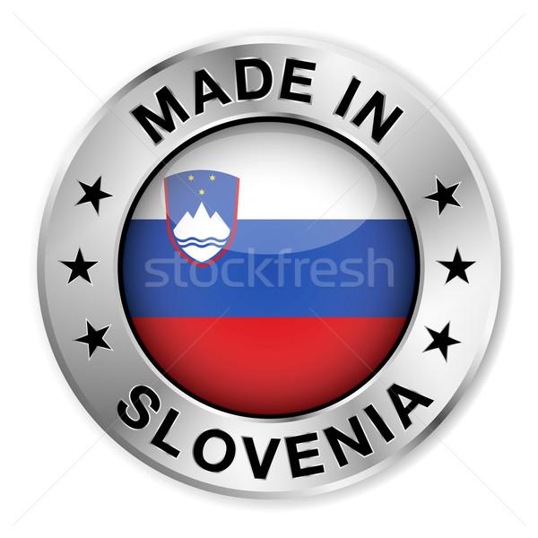 Szlovénia ezüst kitűző ikon központi fényes Stock fotó © NiroDesign