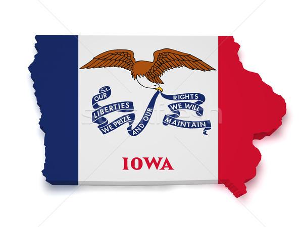 Iowa mapa 3D forma bandera aislado Foto stock © NiroDesign