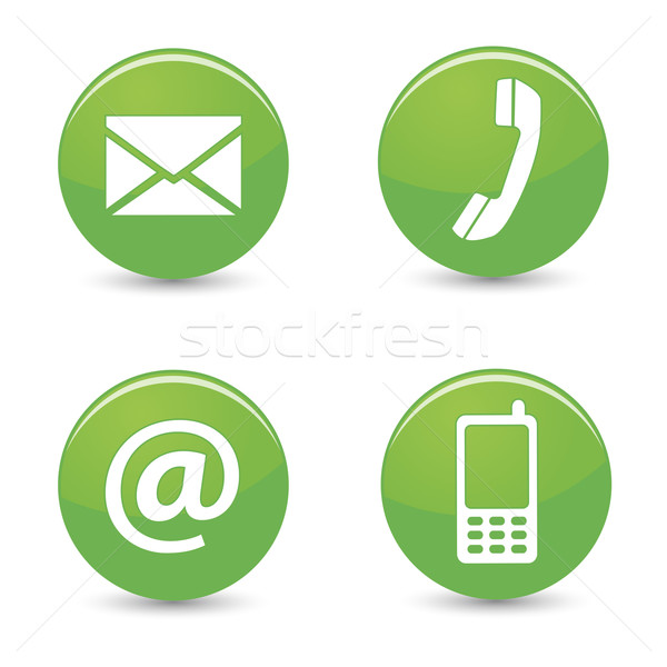 Contact Us Web Green Buttons Icons Stock photo © NiroDesign