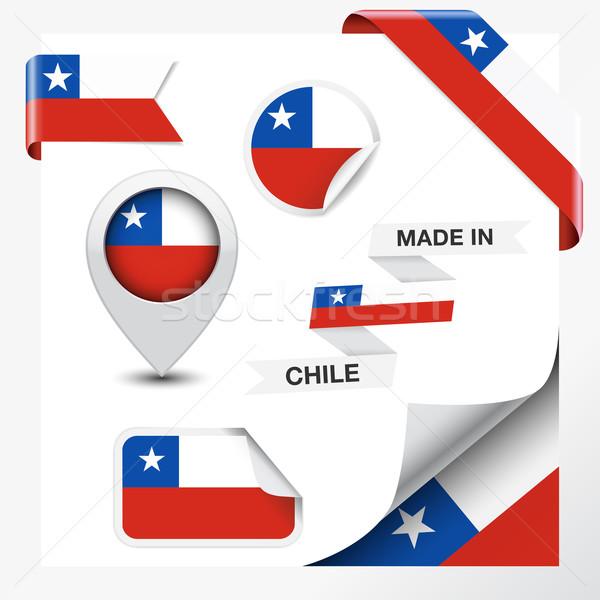 Chile gyűjtemény szalag címke matricák kitűző Stock fotó © NiroDesign