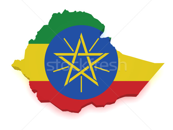 Эфиопия карта 3D форма флаг изолированный Сток-фото © NiroDesign