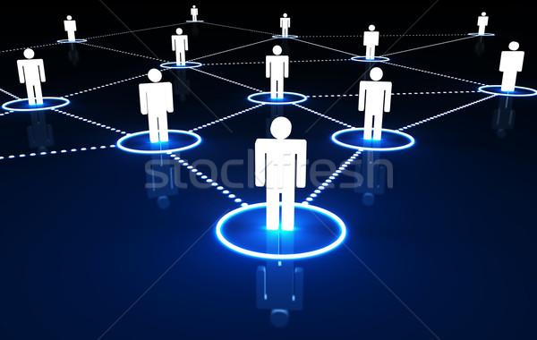 Közösségi háló internet kapcsolat 3d emberek pontozott neon Stock fotó © NiroDesign