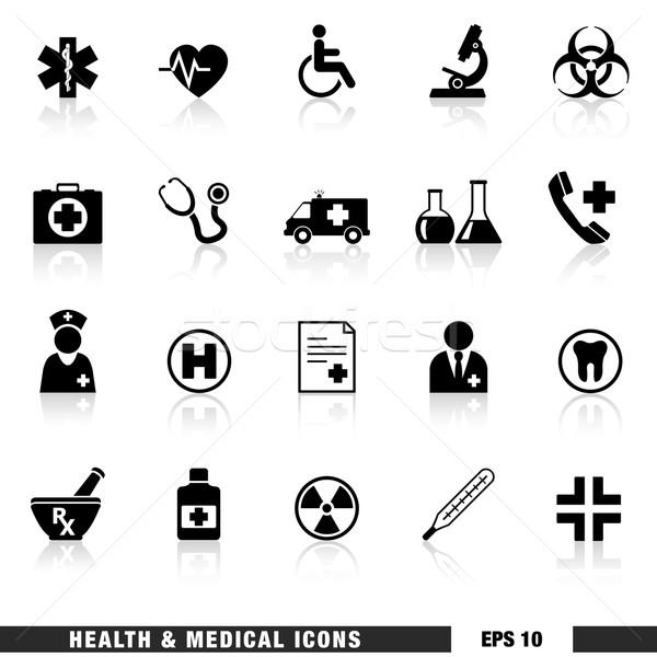 Sağlık tıbbi vektör ayarlamak siyah Stok fotoğraf © NiroDesign