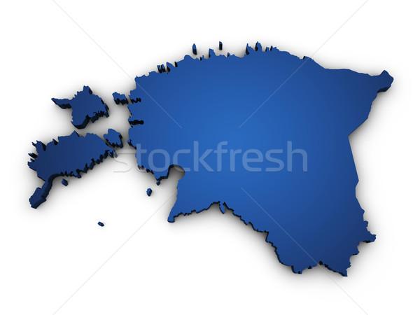 地図 エストニア 3D 青 ストックフォト © NiroDesign