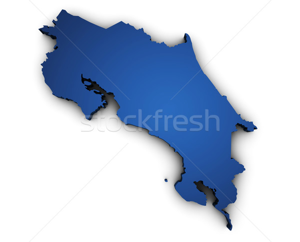 Mappa Costarica 3D colorato blu Foto d'archivio © NiroDesign