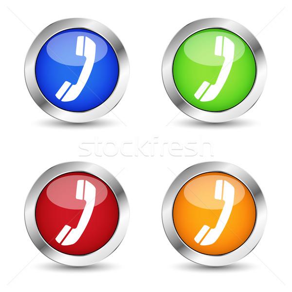 Teléfono web contacto botón establecer Internet Foto stock © NiroDesign