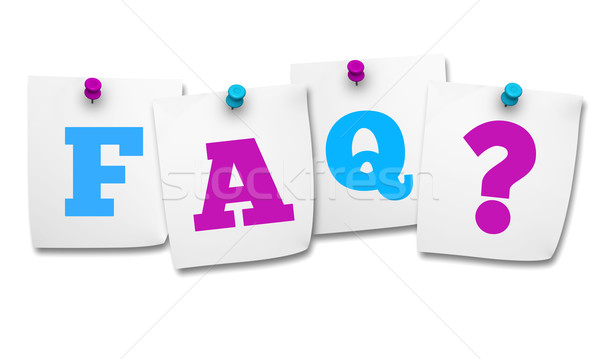 Faq vraagteken post-it website internet gekleurd Stockfoto © NiroDesign