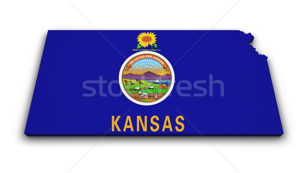 Kansas harita bayrak biçim 3D yalıtılmış Stok fotoğraf © NiroDesign