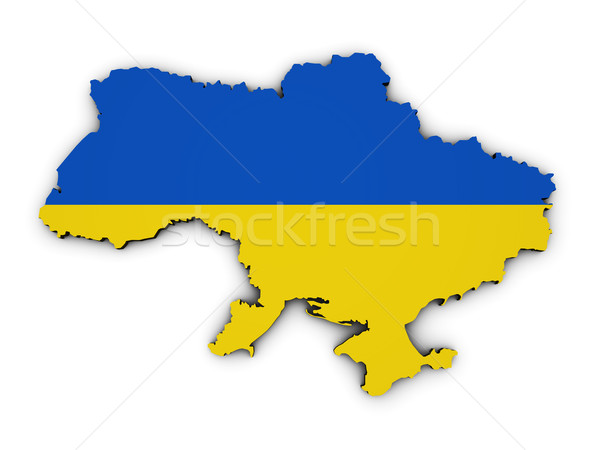 Ukraine Map Flag Shape Stock photo © NiroDesign