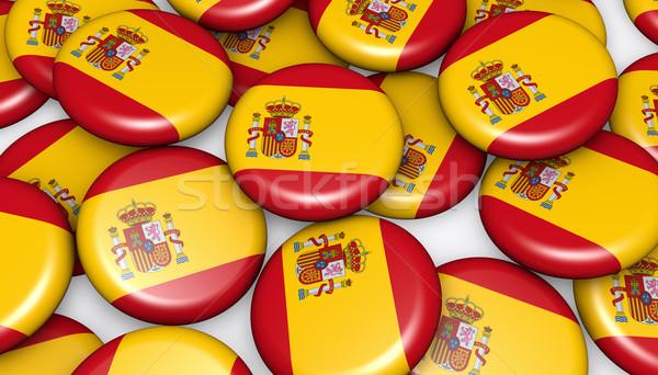 Spain Flag On Badges Background Stock photo © NiroDesign