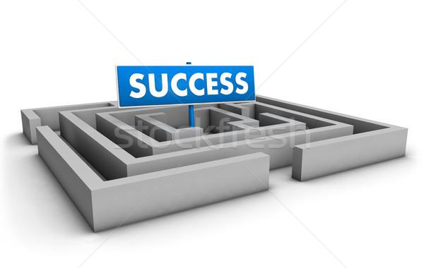 Sucesso labirinto azul meta assinar branco Foto stock © NiroDesign