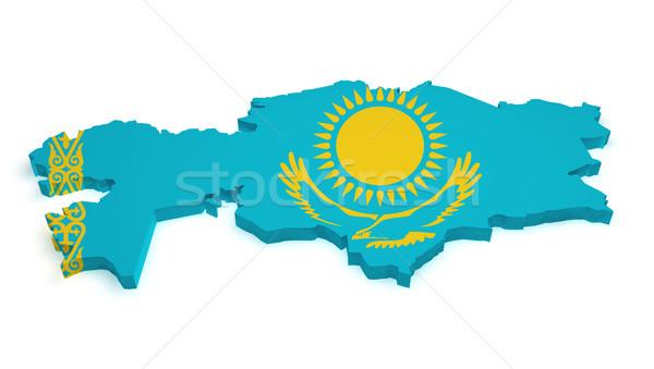 Kazakhstan Map Flag Shape Stock photo © NiroDesign