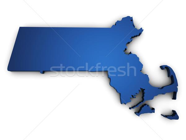 карта Массачусетс 3D форма синий Сток-фото © NiroDesign