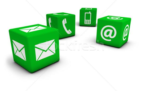 Háló kapcsolatfelvétel ikonok kocka internet email Stock fotó © NiroDesign