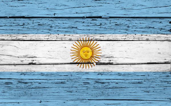 Stock fotó: Argentína · zászló · grunge · fa · festett · kopott