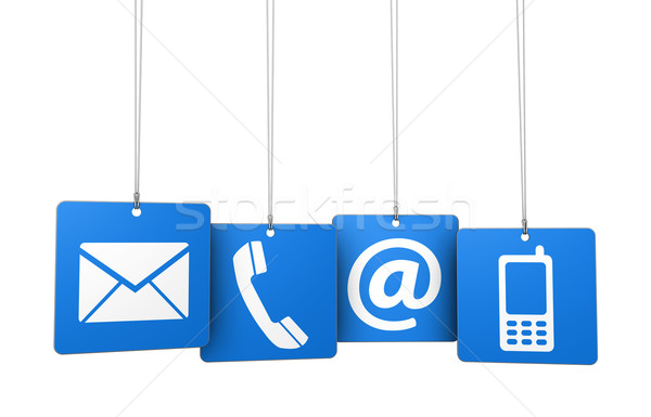 Contact Us Web Icons On Blue Tags Stock photo © NiroDesign
