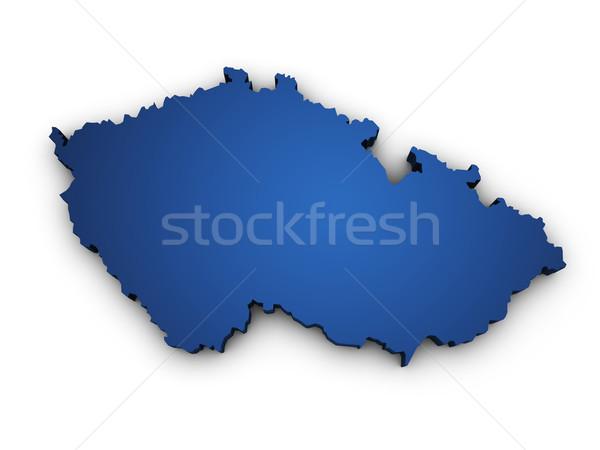Mappa Repubblica Ceca 3D colorato blu Foto d'archivio © NiroDesign