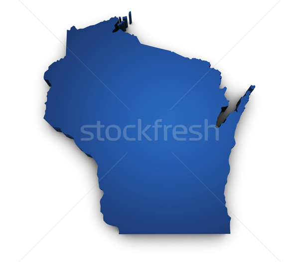 синий карта Висконсин 3D форма Сток-фото © NiroDesign