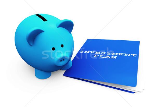 Salvadanaio risparmio investimento divertente blu piano Foto d'archivio © NiroDesign