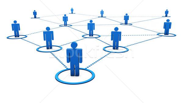 Social network connessione la gente 3d punteggiata blu linee Foto d'archivio © NiroDesign