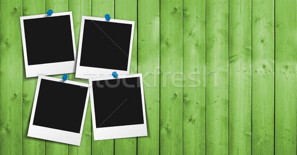 Photo frame verde legno quattro foto fotogrammi Foto d'archivio © NiroDesign