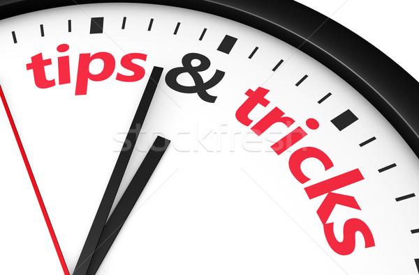 Conseils temps rouge mot signe imprimé Photo stock © NiroDesign
