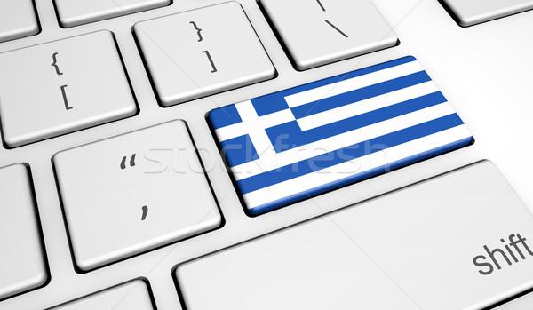 Greek Flag On Computer Key Stock photo © NiroDesign