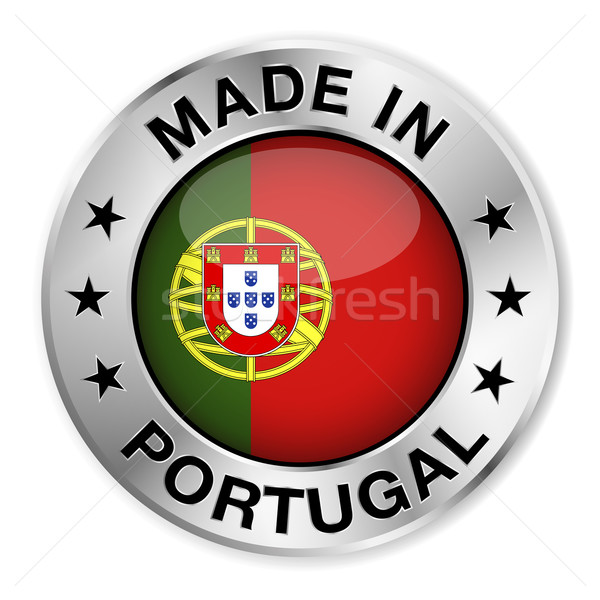 Portugal zilver badge icon centraal glanzend Stockfoto © NiroDesign