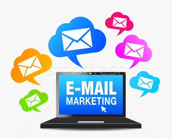 Stockfoto: Web · e-mail · marketing · iconen · laptop · computer · icon