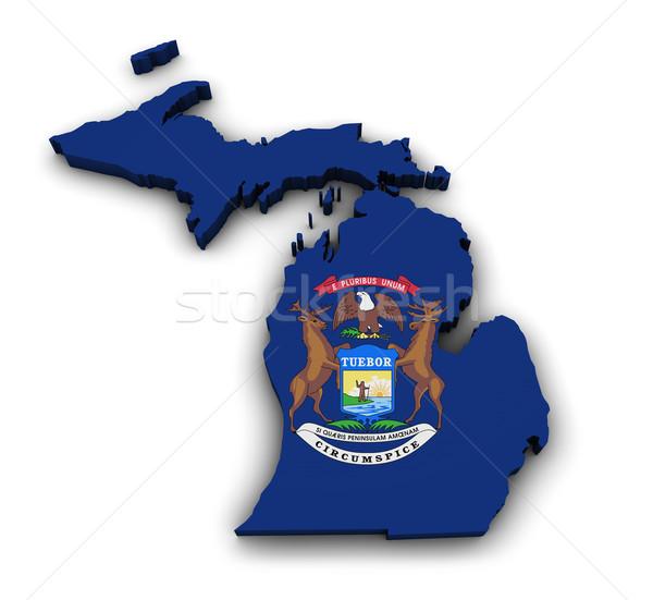 Michigan mapa bandeira forma 3D isolado Foto stock © NiroDesign