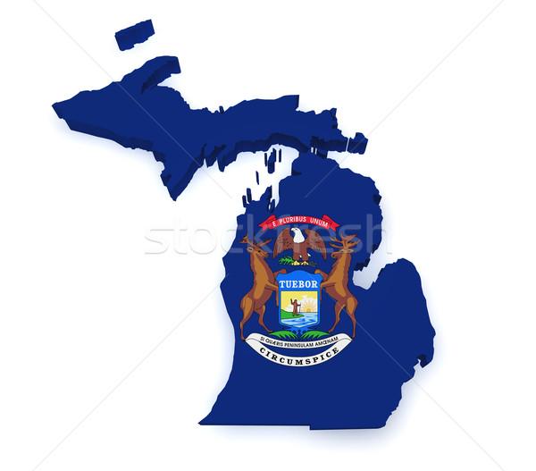 Foto stock: Michigan · mapa · bandera · 3D · forma · aislado