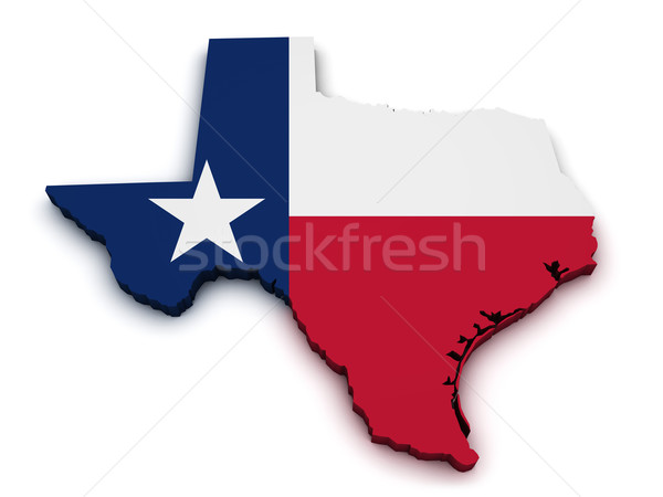 Foto stock: Texas · mapa · bandera · forma · 3D · aislado