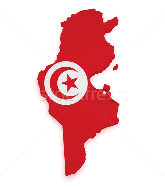 Tunus harita bayrak 3D biçim yalıtılmış Stok fotoğraf © NiroDesign