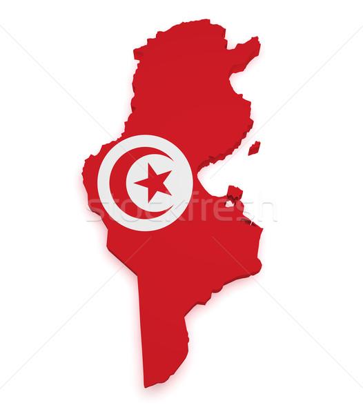 Tunisia Map Flag 3d Shape Stock photo © NiroDesign