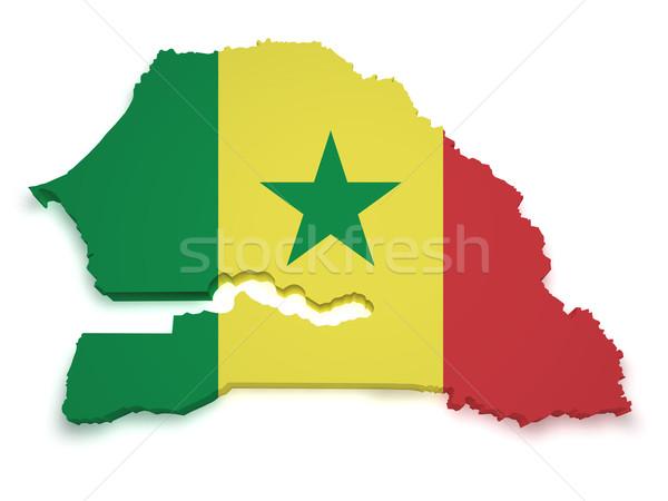 Senegal mappa bandiera 3D isolato Foto d'archivio © NiroDesign