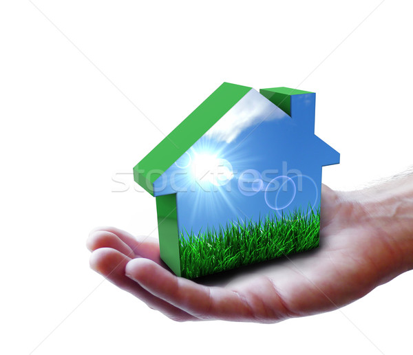 Hand With Green Eco House Nature Stock photo © NiroDesign