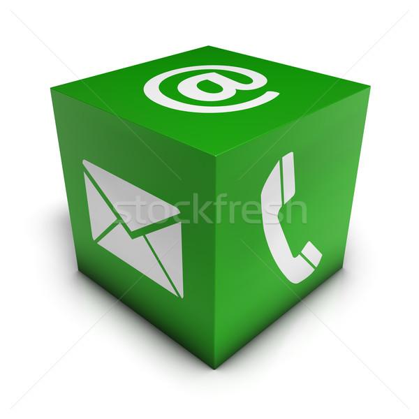 Háló kapcsolatfelvétel zöld kocka weboldal internet Stock fotó © NiroDesign