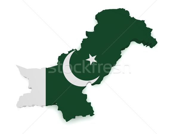 Pakistan harita bayrak 3D biçim yalıtılmış Stok fotoğraf © NiroDesign