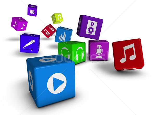Musica audio icone web internet sito Foto d'archivio © NiroDesign