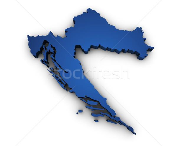 Mapa Croácia 3D forma azul Foto stock © NiroDesign